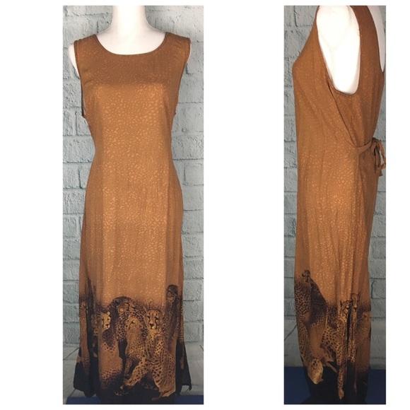 Vintage Leopard Safari Maxi Dress. M 59d8d237981829e050045c1a fa02a46b4