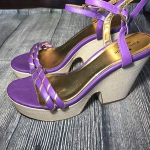 Kate spade gold and purple wedges size 9