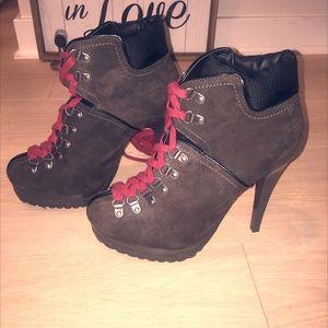 Brown Stiletto Platform Boot w/Dark Red Laces
