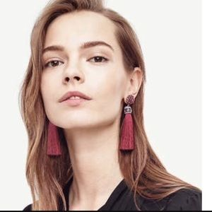 NWT Ann Taylor Burgundy Jewel Silk Tassel Earrings