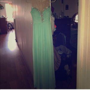 aquamarine long dress with rhinestones