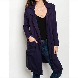 Jackets & Blazers - Navy Blue Trench Coat