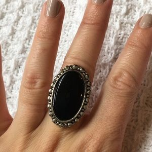Jewelry - Genuine Onyx & Silver-plate Statement ring