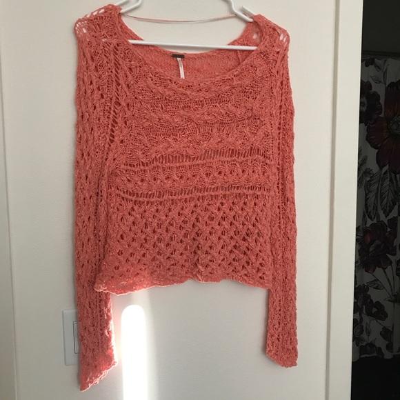 Free People Sweaters - Free People Salmon/Coral Crochet Sweater