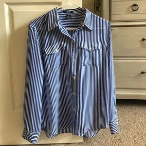 Chaps Button Up Striped Shirt