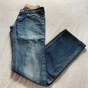 Staff semi-distressed jeans.