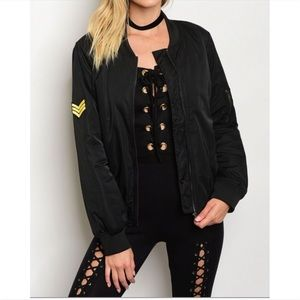 Jackets & Blazers - Edgy Patch Bomber Jacket