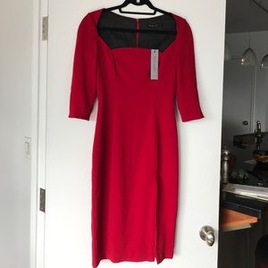 NWT Black Halo Red Sweetheart Neckline Sheath