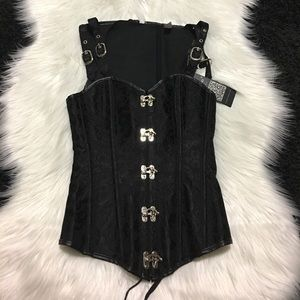 Tops - Black High Back Sweetheart Front Corset