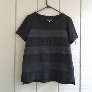 Madewell Mixed Media Top in Black