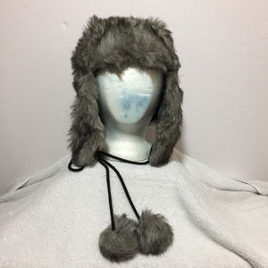 NEW! Gray Faux Fur Hat with Ear Flaps (Ushanka)
