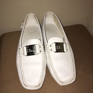 White Dior driver shoe