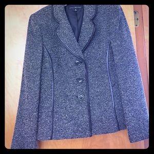 Nipon Boutique grey blazer w/ leather trim