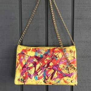 H&M yellow painted purse, gold chain