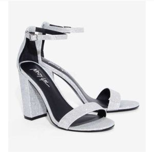Nasty Gal Silver Take the Strap Heels
