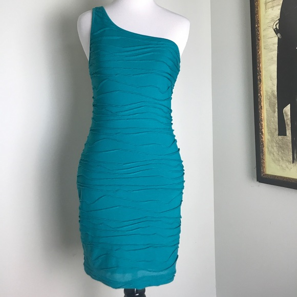 c051d6ca63 G by Guess Dresses   Skirts - G by Guess One Shoulder Teal Bodycon Dress  Size