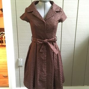 ModCloth Retro Button-Up Dress - Brown, Eyelets