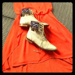 Valentina cream leather ankle boots