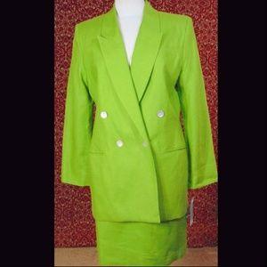NEW AMANDA SMITH green linen skirt suit 10