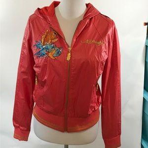 Ed Hardy mermaid orange jacket size medium