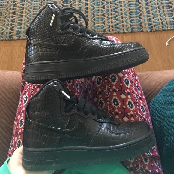 Nike Shoes Black Snakeskin Air Force One High Top Poshmark