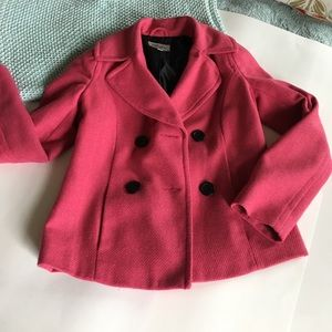 Lipstick pink pea coat. Size small.  Fully lined.
