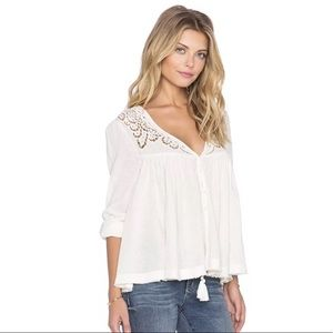 Free people doin' it right Ivory blouse Sz Xs