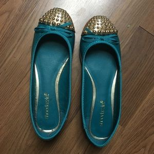 Teal and Gold Flats from ShoeDazzle