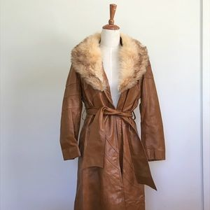 Vintage leather and fur trench coat
