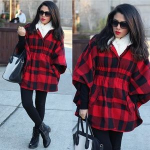 RED AND BLACK PLAID PONCHO/CAPE