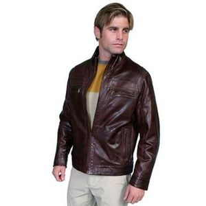 Scully Brown Leather Jacket Lamb Leather Lined