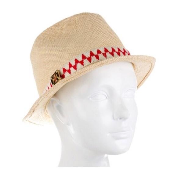 aea88f47bf7 Tory Burch Tan straw gold Reva logo fedora hat. M 59d93304620ff7822805ef81.  Other Accessories ...