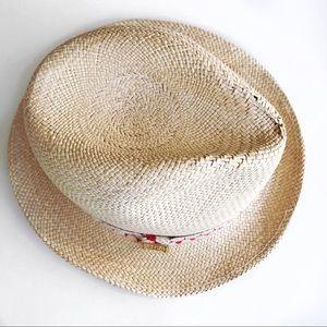 662f2093ed2 Tory Burch Accessories - Tory Burch Tan straw gold Reva logo fedora hat
