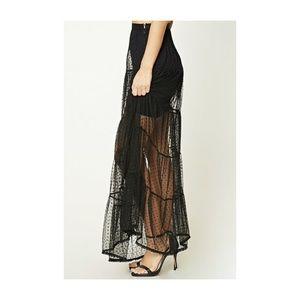 2559942137 Forever 21 Skirts   Knit Polka Dot Mesh Maxi Skirt Black Size Large ...