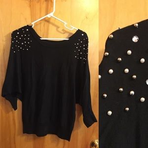 Black IZ Byer sweater with pearl and rhinestones