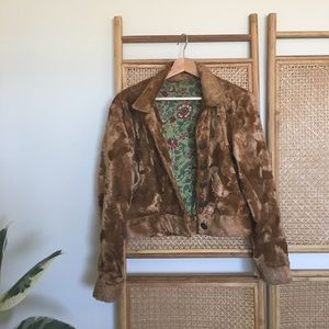 Rare fuzzy tan bear velvet like jacket