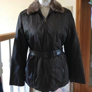 PRADA Dark Brown Leather, Nylon, Jacket  Small