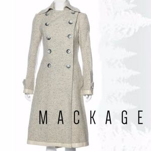 Mackage Wool Coat with Leather Trim