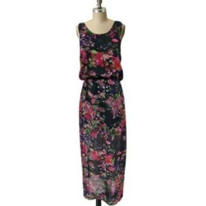 Walter Baker Watercolor Black Maxi Dress