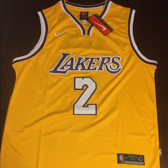 sports shoes 40d74 a1154 New Lonzo Ball Gold LA Lakers Jersey Mens Small NWT