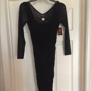 Jean Paul Gaultier Soleil Fuzzi black dress