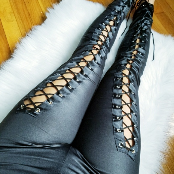 49abbfc3b27b Black Corset Lace Wet Look Legging