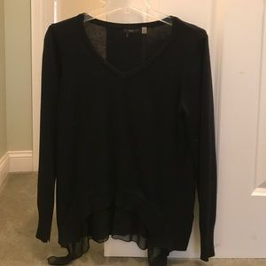 light-weight v-neck sweater with black sheer trim