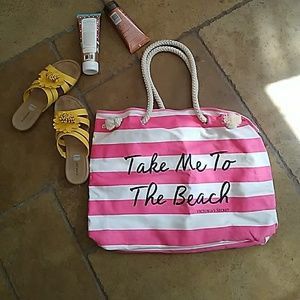 Victoria's Secret Canvas Beach Bag pink and White