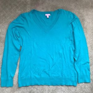 Lilly Pulitzer Turquoise V-Neck Sweater