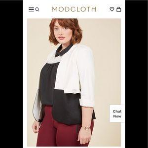 Modcloth Blazer Jacket Colorblock 3/4 Sleeve EUC