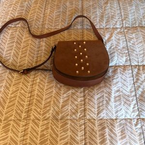 Brown Suede Crossbody with Gold Stud Detail