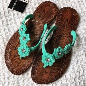 Just In! Teal Floral & Woodgrain Plastic Sandals