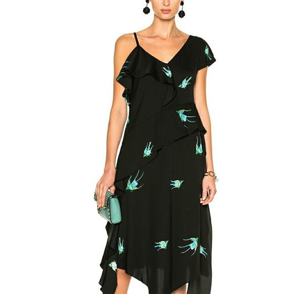 Diane Von Furstenberg Dresses & Skirts - Diane von Furstenberg Bird Print Silk Ruffle Dress