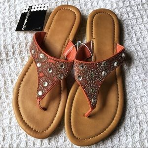Just In! Coral Jeweled Sandals Tan
